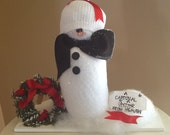 "Snowman, snowmen scene, cardinal, ""A Cardinal is a visitor from Heaven"", holiday decoration"