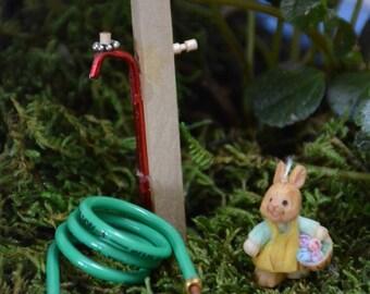 Miniature Garden Hose with Spigot, Fairy Garden Water Hose, Miniature Hose and Spigot, Dollhouse Water Hose and Spigot, Water Hose Spigot