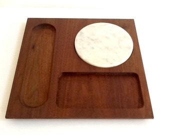 Wood and Marble Cheese Board Serving Tray, Wood Serving Board