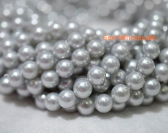 """15.5"""" 8mm/10mm Silver grey Shell pearl round beads,luster grey shell pearl, jewelry supply, TYA"""