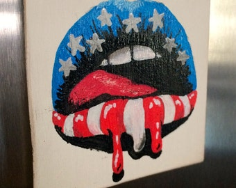 American Flag Lips - Small Wooden Magnet