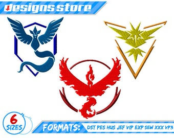 POKEMON GO EMBROIDERY designs all 3 Teams  Pack Valor Mystic Instinct