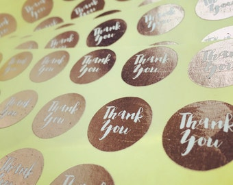 Gold, Rose Gold, Silver, Teal, Mint, Pink Foiled Calligraphy Round Stickers: thank you (pk 20)