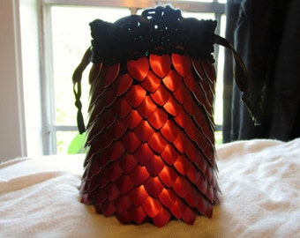 Red Dragon Scale Dice Bag/ Knitted Scalemaille/ Scalemaille Dice Pouch/ Large Dice Bag
