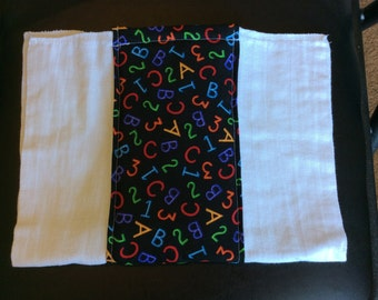 Neon ABC 123 Burp Cloth
