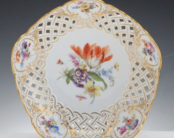 A Meissen Porcelain 19Th Century Reticulated Bowl Decorated With Flowers, C. 1880