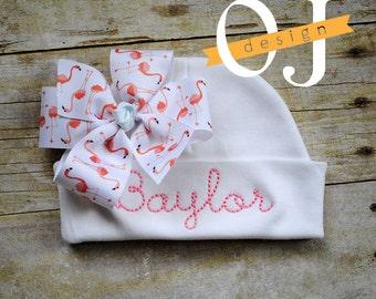 Personalized Name Newborn Hat - Infant Hospital Hat - embroidered - Newborn Hat - Newborn Hat with Bow - Girl - Pink Flamingo