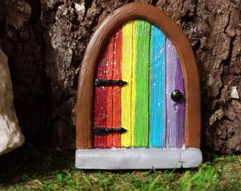 Rainbow fairy door etsy for Rainbow fairy door