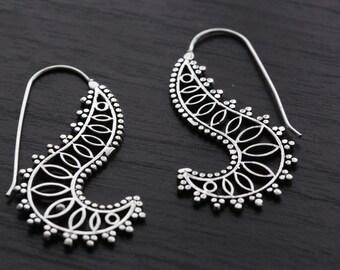 Brass earrings, Tribal Brass Earrings,  Brass hoops, Spiral Hoops, Ethnic earrings; Gypsy earrings, Bohemian Jewelry, Belly Dance Jewelry