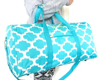 4 Colors, Quatrefoil DUFFLE Bag, Turquoise Overnight Bag, Personalized Duffle, Women Travel Bag, Gray Duffle Bag, Girl Duffle Bag, Pink