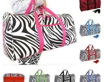 SALE! Zebra DUFFLE Bag, Zebra Overnight Bag, Zebra Luggage, Girl Duffle Bag, Zebra Gym Bag, Zebra Ballet Bag, Cheer Bag, Red, Purple, Blue