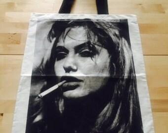Angelina Jolie Tough Cotton Canvas Punk Rock Tote Bag