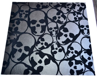 "Wallpaper - Flocked Black Skulls on Charcoal Metallic - Graham & Brown - 16"" x 17"""