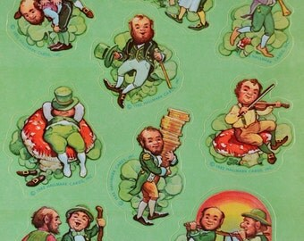 Vintage Stickers -  Hallmark St Patricks Day Leprechauns - A Sheet of 9