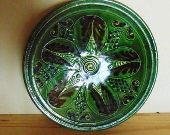 Vintage green slipware terracotta wall plate