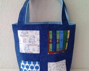 Nancy Drew tote bag, Nancy Drew books, Nancy Drew, tote bag, shoulder bag, book bag, books, vintage books, book gifts, gifts for her