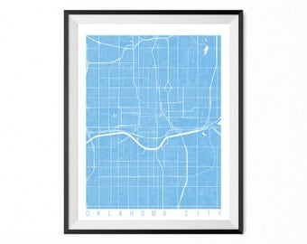 Oklahoma City City Map Art Print / Oklahoma City Poster / Oklahoma City Wall Art / Oklahoma Gift/ Oklahoma home decor
