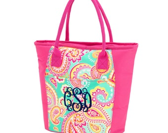 Summer Paisley Lunch Totes, Large, Insulated, Office Lunch Totes Monogrammed