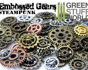 Embossed and COGS and GEARS Steampunk beads 50-60 pieces - Riveted with screw