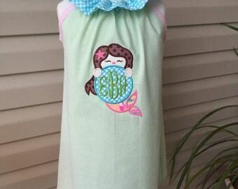 Mermaid Ruffler dress with Monogram