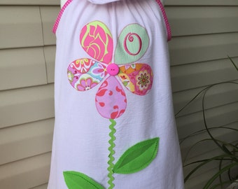 Appliqued Flower dress with initial