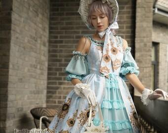 Lolita Fashion Ball Dress Chic Rococo Off the Shoulder Gold Print Dress *burgundy,moon night blue,black,mint