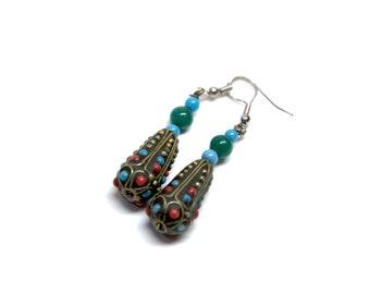 Earrings Afghani Drop Blue Green Red