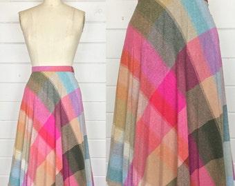 Vintage 1970s Pink Rainbow Wool Plaid Skirt / A-Line / Knee Length / Pleated Skirt