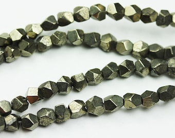 Pyrite, One full Strand Natural Gemstone,  4.5mm Faceted Cube Bead -GEM1095