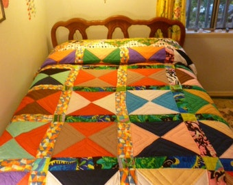 Vintage Silk and Cotton Hand Sewn Quilt Blanket Harlequin Paisley Purple