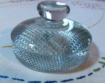 Vintage Pressed Glass Paperweight Crosshatch Diamond Check Pattern Art Deco Desk Accessory