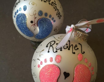 Hand Painted Ornaments by Les ~ First Christmas Feet ~ Original Ornament