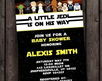 starwars baby shower invitation star wars customized wording included