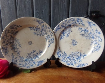 Adorable pair of French antique plates, ironstone table wares, terre de fer de Grigny late 1800s.