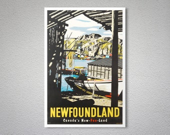 Newfoundland Canada's New Fun Land Vintage Travel Poster - Poster Print, Sticker or Canvas Print