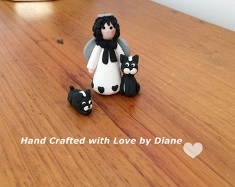 Mini Miniature Hand crafted Polymer Clay Boston Terrier Angel Figurines