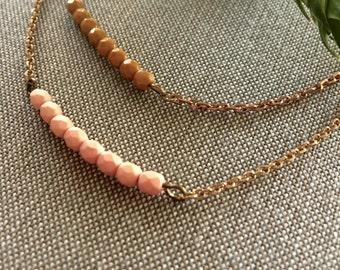 2 Birds // Layering bracelets, Friendship bracelets Mustard and Pink