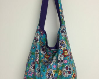 Slouch bag, hobo bag, sugar skull, candy skull
