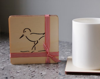 Wooden Sandpiper Coasters (Set of 4)