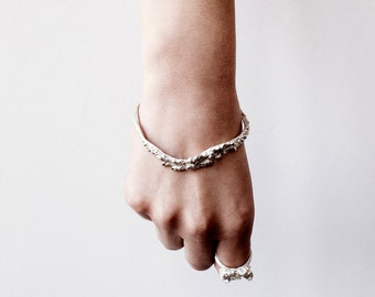 Detailed Silver Bangle Cuff Inspired by Octopus