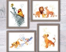 Unique lion king wall art related items etsy for Decoration chambre le roi lion