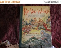 Fall CLEARANCE Sale 1939 Hardbound Rip Van Winkle by Washington Irving with Color Illustrations
