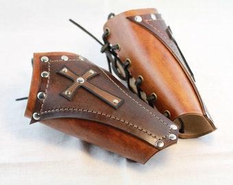leather Bracers Medieval  Cross Conquistador