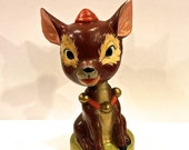 Vintage Christmas Bobble Head, Reindeer, Nodder Deer, Composite Figurine, Jingle Bell Collar, Rudolph, 5 inches tall, made in Japan,