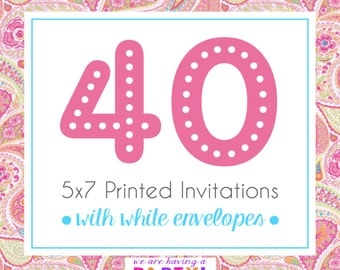 40, 5x7 Invitations with White Envelopes Professionally Printed