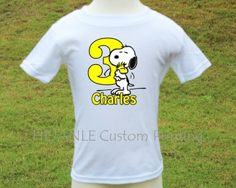 Snoopy with big number Birthday Personalized Printed Tshirt / Onesie - Snoopy and Woodstock Party Shirt - Baby's Cartoon Toddler Printed Top