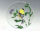 Goldfinch Suncatcher, Thistle Suncatcher, Fused Glass, Yellow Bird, Bird Decor