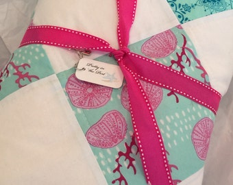 Coastal inspired lap quilt for girl's bedroom, girls gift