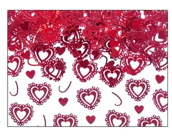 Vintage Red Hearts table confetti, weddings, Valentine, engagement, wedding supplies, wedding decorations, table decorations, UK seller