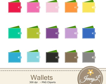 Wallet Clipart, Money for Planners, Digital Scrapbooking, Invitations, cupcake toppers, Stickers, Labels